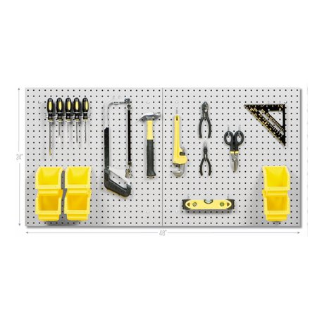 Colored Pegboard (Steel Pegboard Set w/ 23 Hooks & 6 Bins, 24