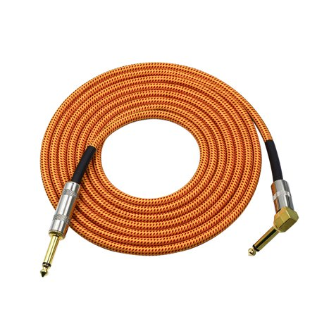 16.4 Feet Musical Instrument Audio Guitar Cable Cord 1/4 Inch Straight to Right-angle Gold-plated TS Plugs PVC Braided Fabric Jacket for Electric Guitar Bass Mixer Amplifier Equalizer 1/4' Straight Angled Instrument Cable