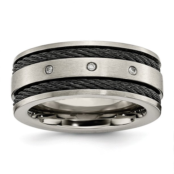Roy Rose Jewelry Titanium Black IP-plated Cable and Diamonds 10mm Brushed Band Size 12