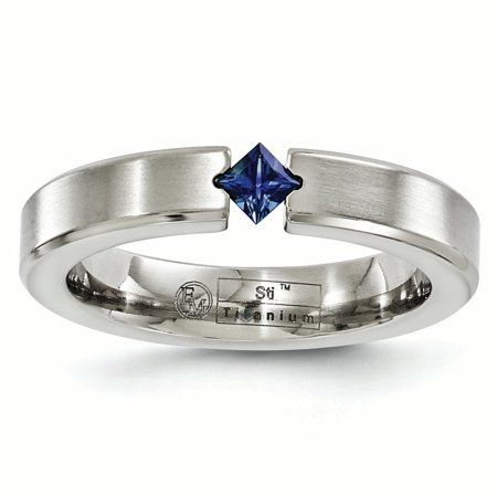 Titanium Jewel - Edward Mirell Titanium Brushed Sapphire 4mm Wedding Ring Band Size 12.00 Stone Gemstone Gifts For Women For Her mothers day gifts mom wife daughter