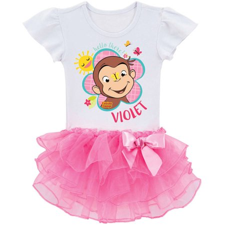 Curious George Flower - Personalized Curious George Flower Toddler Pink Tutu Tee