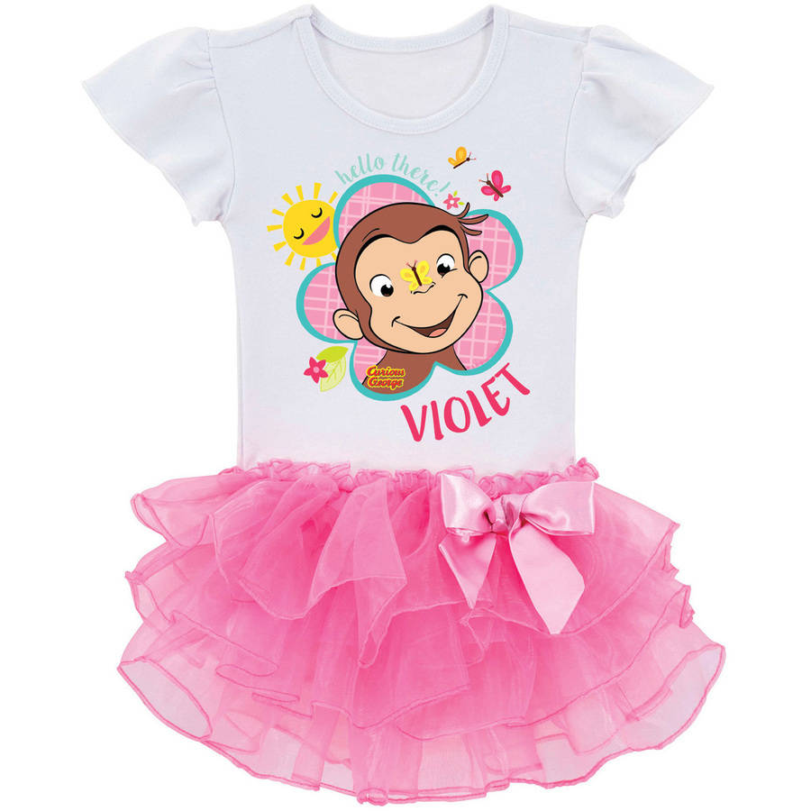 Personalized Curious George Flower Toddler Pink Tutu Tee