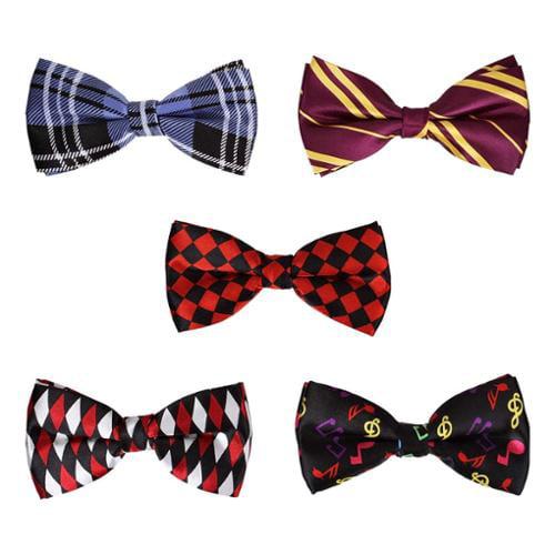 BMC 5 pc Mens Formal Mixed Pattern Pre-Tied Adjustable Neck Tie Bowties - Set 6