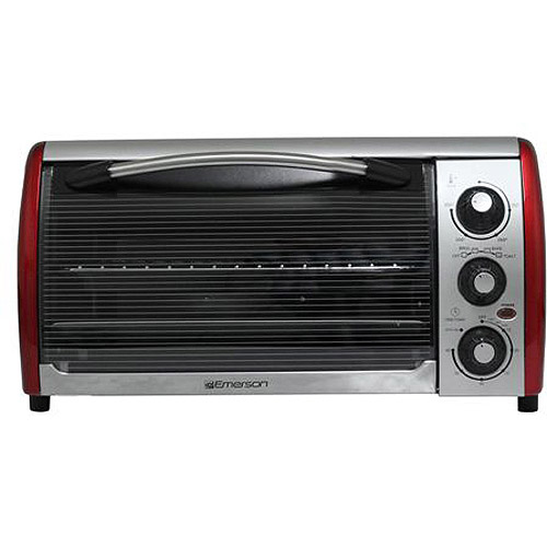 Emerson 0.7 cu ft 6-Slice Toaster Oven, Refurbished, Silver/Red