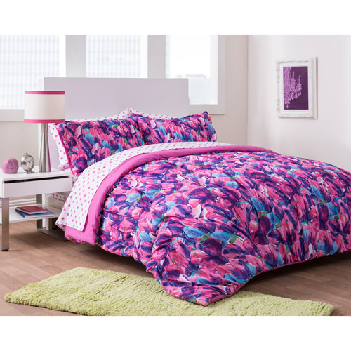 complete bed sets formula tula tulips complete bedding set pink walmart 11182