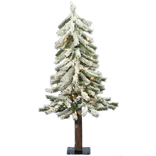 Vickerman Flocked Alpine 24'' Artificial Christmas Tree with Clear Lights