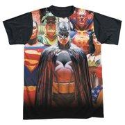 Jla - Wall Of Heroes - Short Sleeve Black Back Shirt - Medium