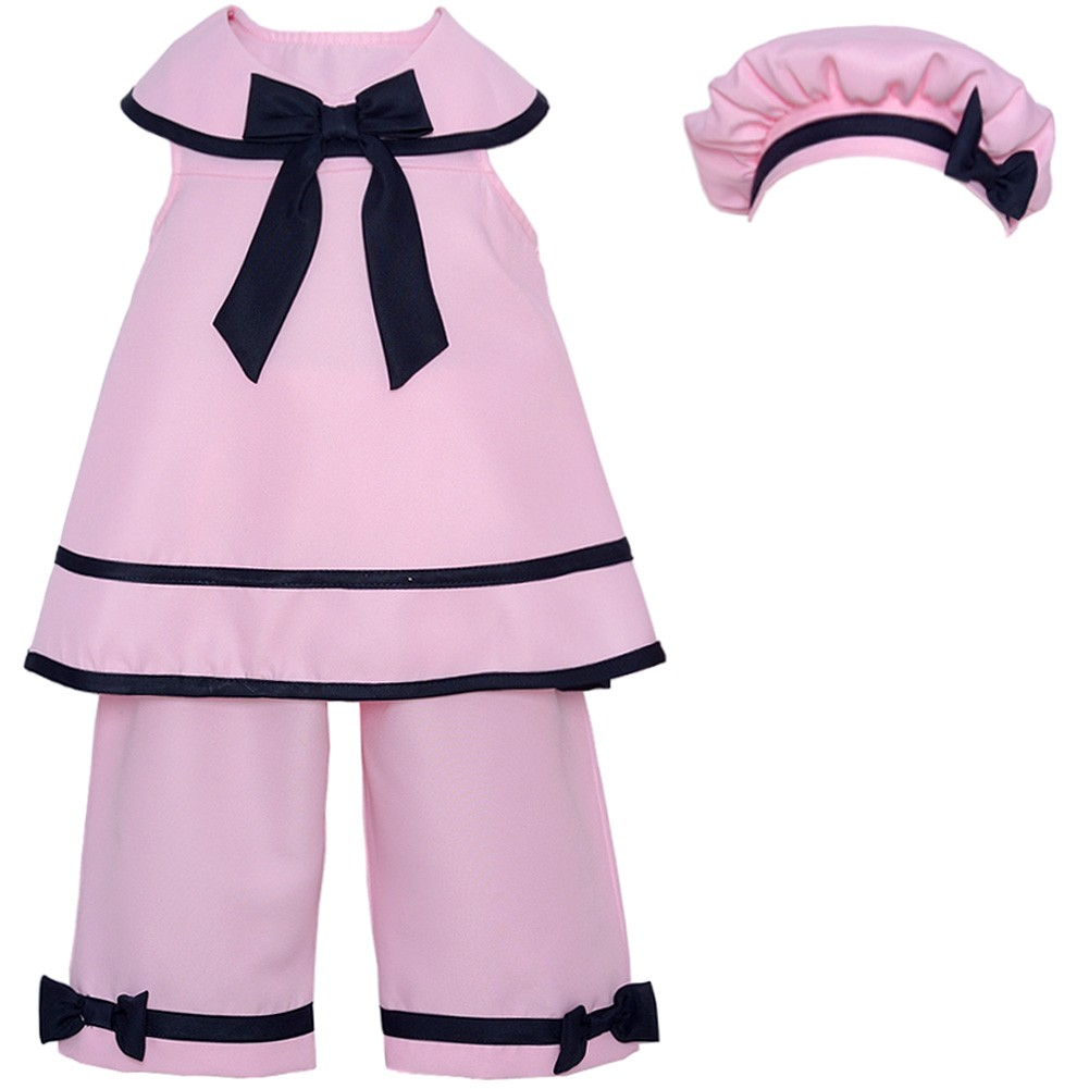 Rare Editions Baby Girls Pink Black Bow Accent Bonnet 3 Pc Outfit Set 3-24M