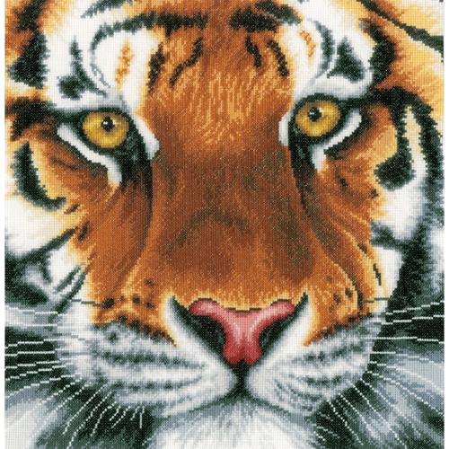 "LanArte Tiger On Aida Counted Cross Stitch Kit, 13.75"" x 13.5"", 14-Count"
