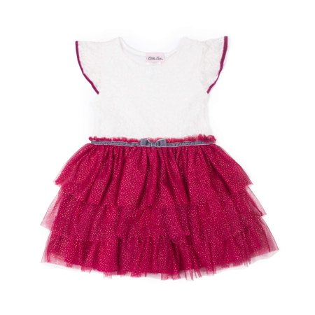 Little Lass Flutter Sleeve Lace and Tiered Skirt Special Occasion Holiday Dress (Baby Girls & Toddler Girls) - Special Occasion Girls Dresses