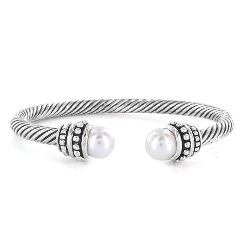 West Coast Jewelry Cable Created Pearl Ends Bracelet