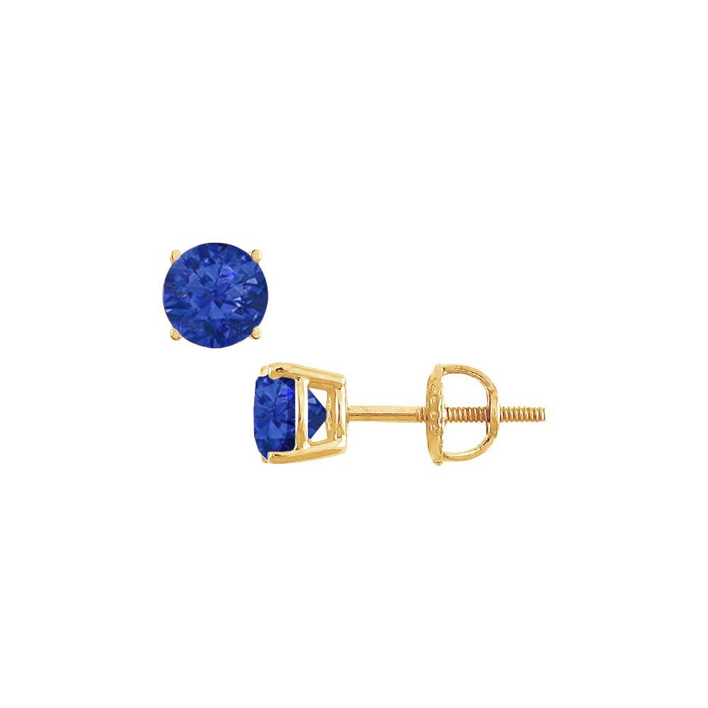 Created Sapphire Stud Earrings 14K Yellow Gold 2.00 CT TGW - image 2 de 2