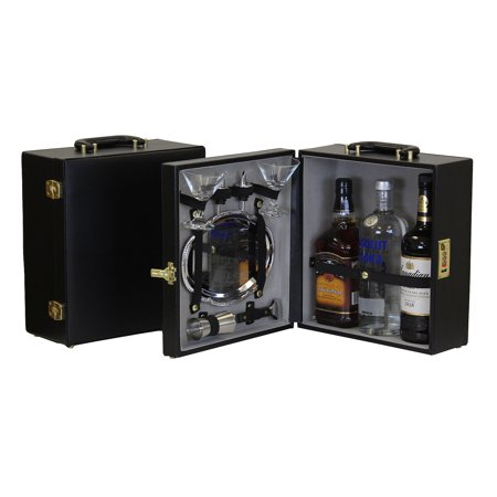 Portable Three Bottle Travel Bar Set with Serving Tray - 8 Pieces