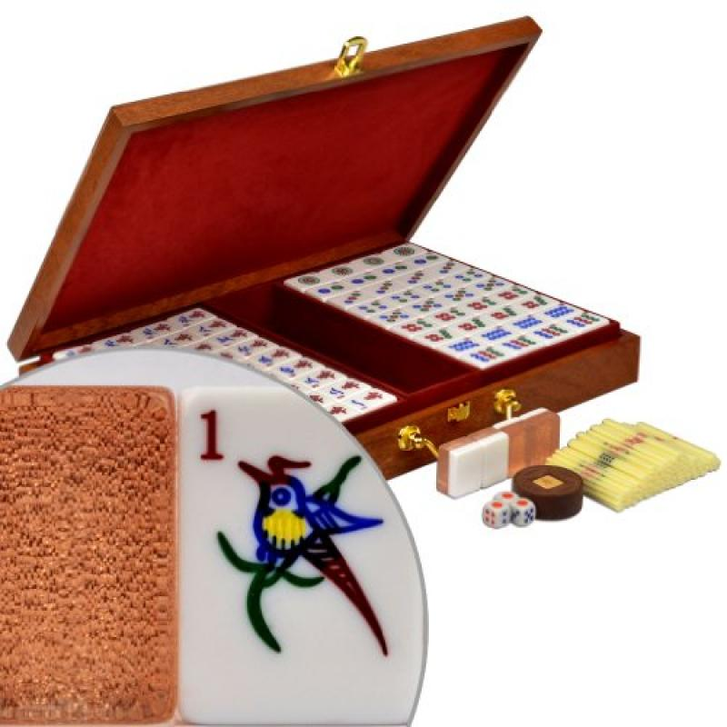 "Chinese Mahjong (Mah Jong, Mahjongg, Mah-Jongg, Mah Jongg, Majiang) Numbered Tile Game Set w/ Wood Veneer Case – ""Champagne Gold"""