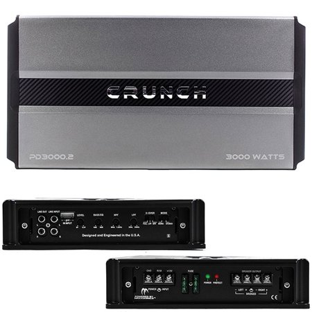 Crunch Pd 3000.2 Pro Power Power Drive 2-channel Bridgeable Class AB Amp (Pro Power, 3,000 Watts Max) 2 Channel Power Amp