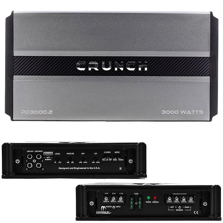 Crunch Pd 3000.2 Pro Power Power Drive 2-channel Bridgeable Class AB Amp (Pro Power, 3,000 Watts Max)