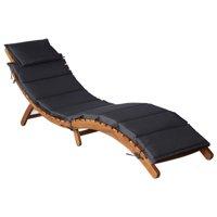 vidaXL Sun Lounger with Cushion Solid Acacia Wood