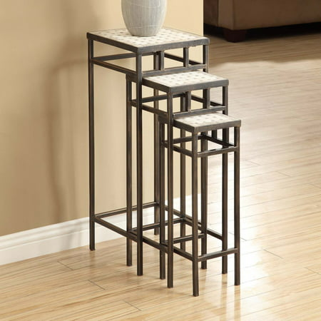 4D Concepts Slate Square Plant Stands with Travertine Tops - Set of 3 ()