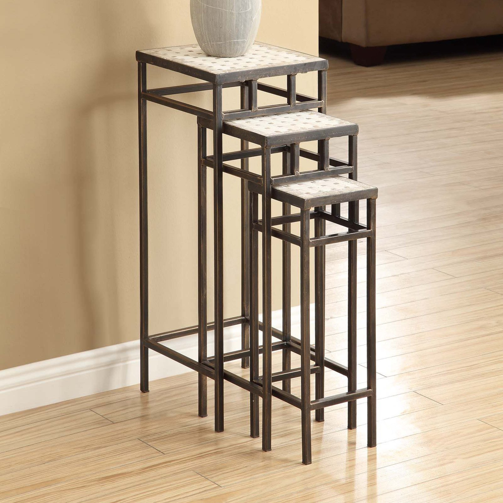 4D Concepts Slate Square Plant Stands with Travertine Tops Set of 3 by 4D Concepts