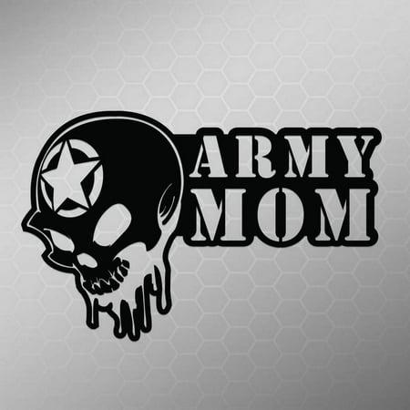 Army Mom Skull Vinyl Decal Sticker Cars Trucks Vans Walls Laptops Cups White 55 X 35 Inch Kcd1703