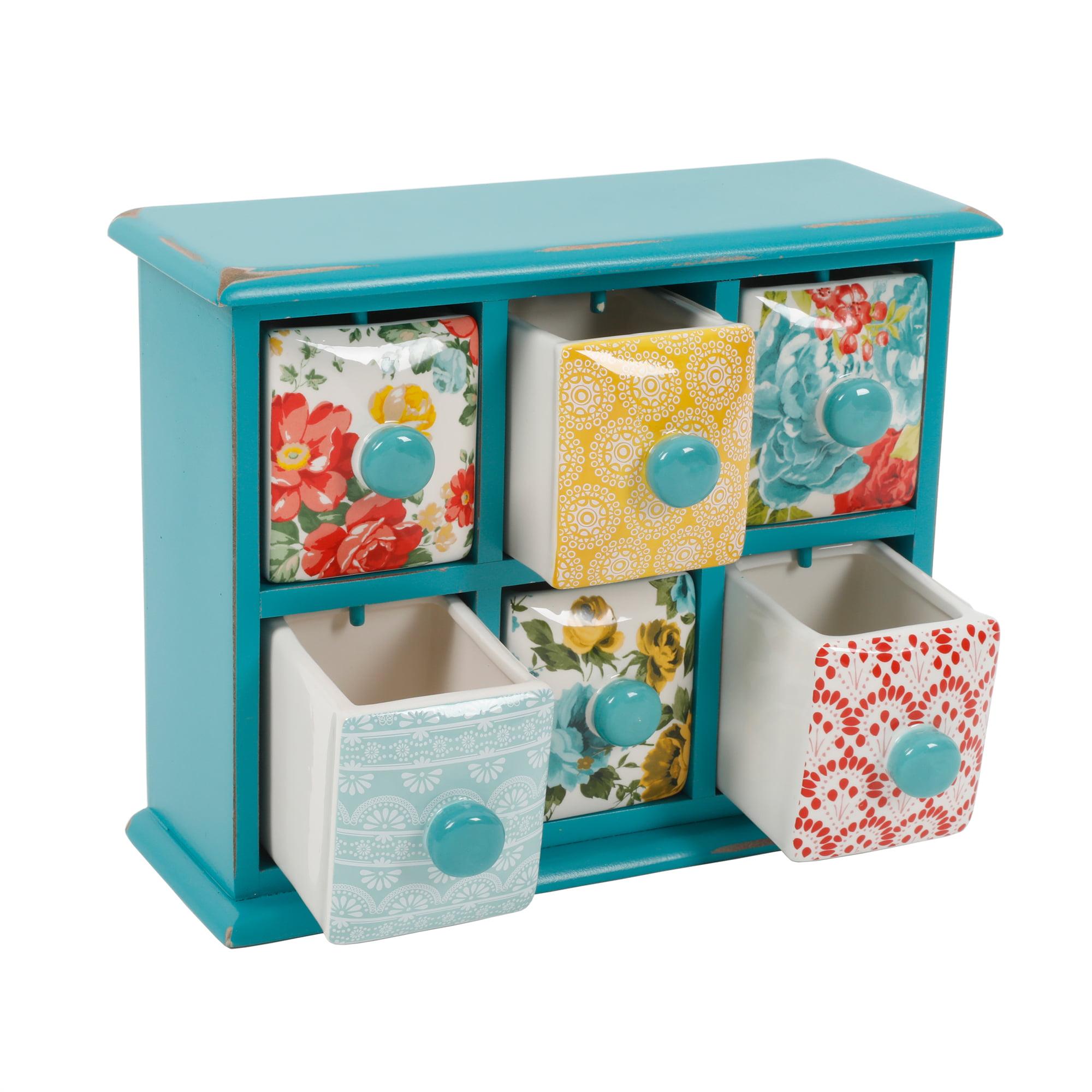 The Pioneer Woman Vintage Floral 6-Drawer Spice /Tea Box - Walmart.com