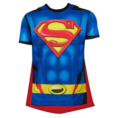 Superman Sublimated Cape Tee - Kids Superman T Shirt With Cape