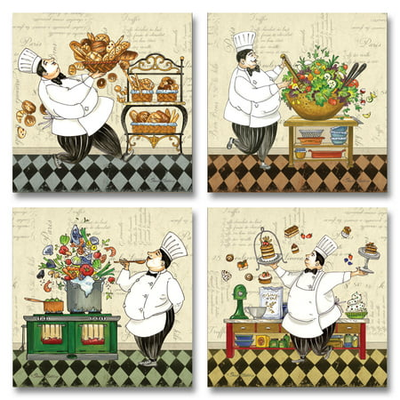 - Classic Retro Chef; Soup, Salad, Pastry and Bread; Kitchen Decor; Four 12x12 Poster Prints