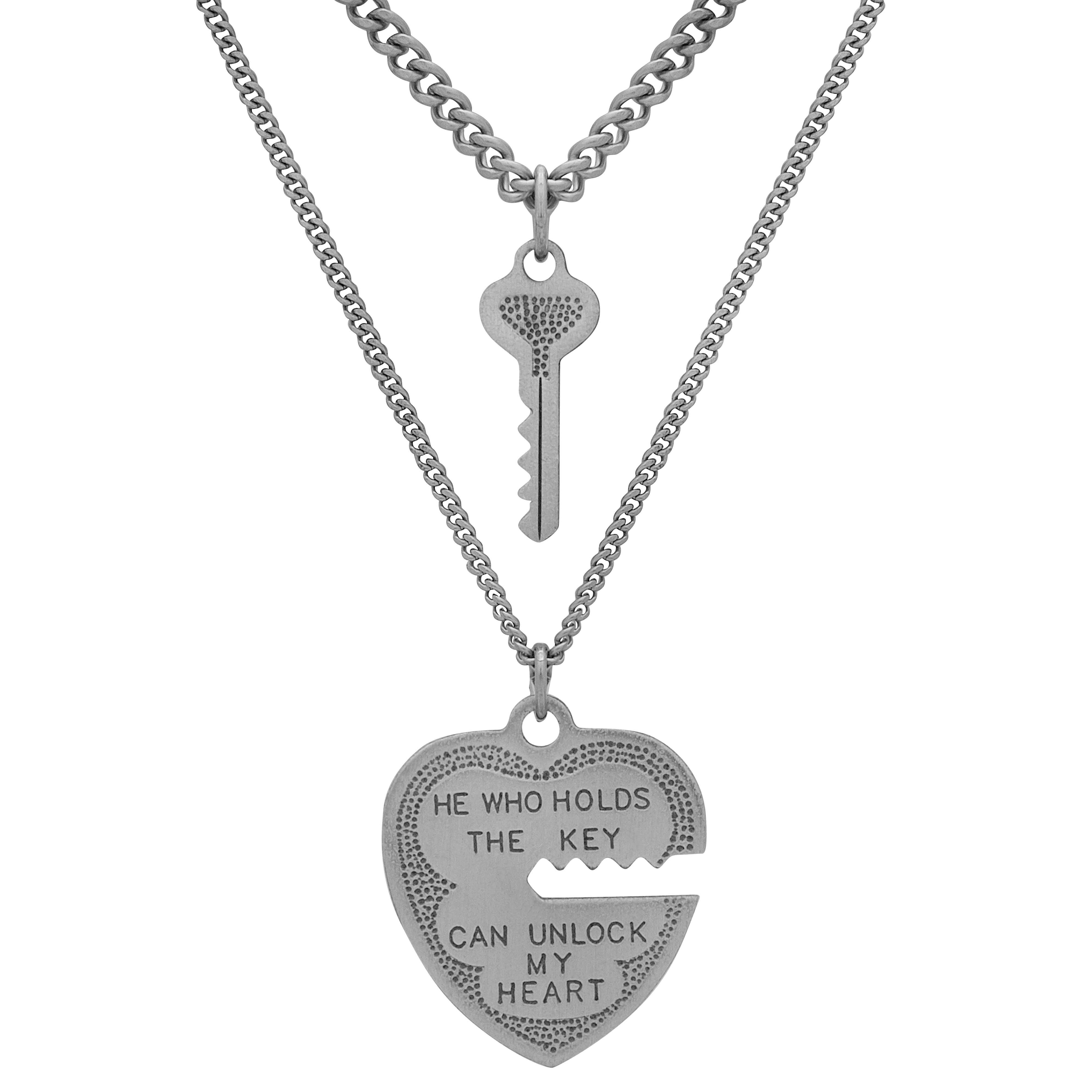 "Sterling Silver Heart and Key Pendant 2-Piece Set, 18"" Stainless Steel Chain"