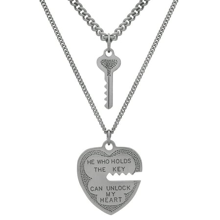 Brilliance Fine Jewelry Sterling Silver Heart And Key Pendant 2-Piece Necklace Set, 18