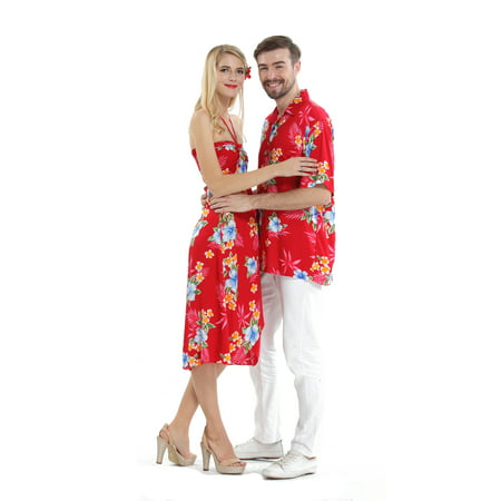 Couple Matching Hawaiian Luau Cruise Party Outfit Shirt Dress in Hibiscus Red Men L Women L