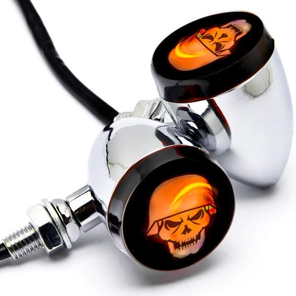 2pc Skull Lens Chrome Motorcycle Turn Signals Bulb For Harley Davidson FXB Dyna Sturgis 80 - image 3 de 6