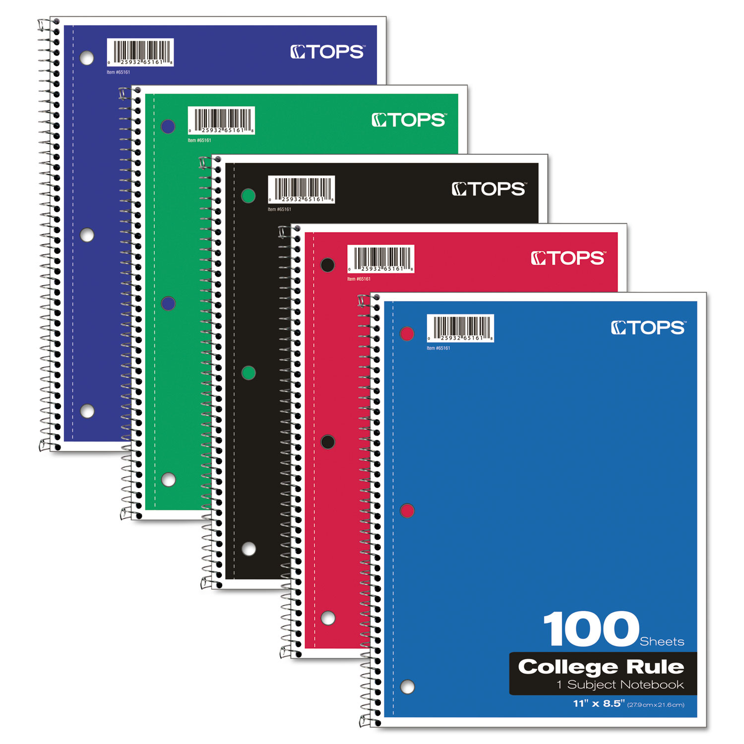"TOPS 1-subject College-ruled Notebook - 100 Sheets - Printed - Wire Bound - Letter 8.50"" x 11"" - 0.4"" x 8.5""11"" - Assorted Paper - Red, Black, Blue, Green Cover - Card Stock Cover - Perforated - 1Each"