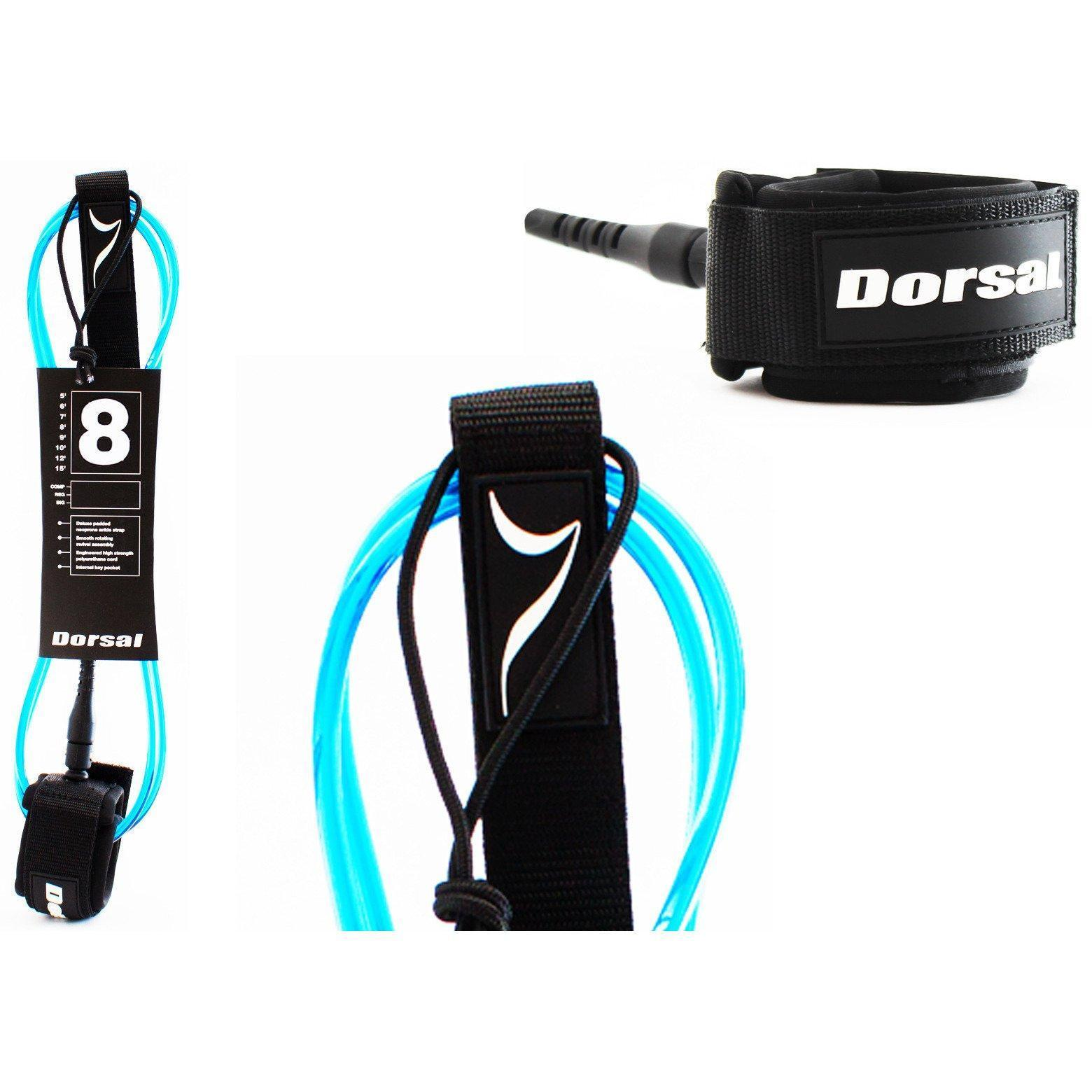 Dorsal Premium Surfboard 6, 7, 8, 9, 10 FT Surf Leash - Blue 8 FT Longboard / Blue