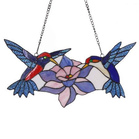 Bieye W10015 18 inches Hummingbird Tiffany Style Stained Glass Window Panel with Hanging Chain