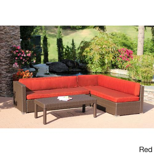3 piece Wicker Conversation Sectional Set Red Cushions