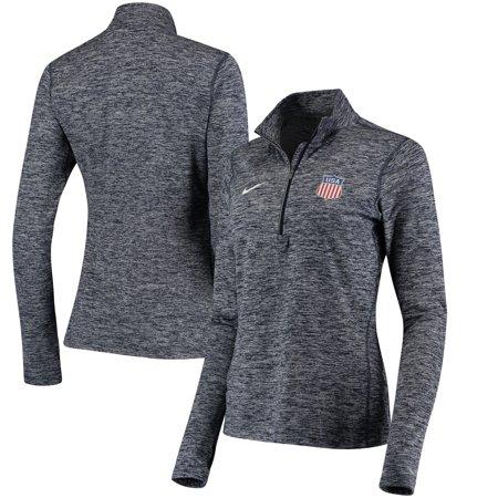 US Hockey Nike Women's 2018 Winter Olympics Half Zip Top Performance Jacket - Heathered Navy