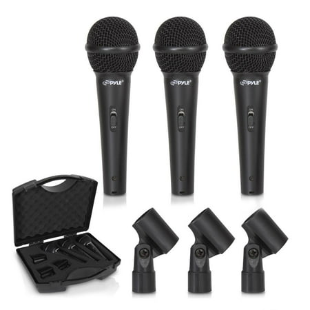 PYLE PDMICKT80 - (3) Professional Dynamic Handheld Microphones, Cardioid Moving Coil Vocal Mics with Clip Adapters