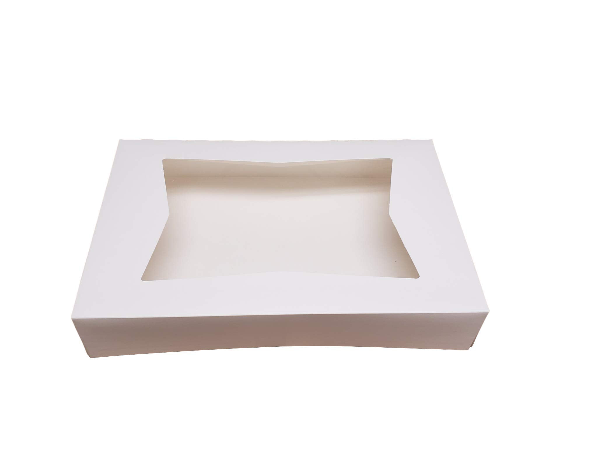 12.5 x 5.5 x 2.5 Mini Cakes and Pastries 20-Pack Cookie Boxes with Window White Bakery Boxes Auto-Popup Treat Boxes for Muffins Donuts