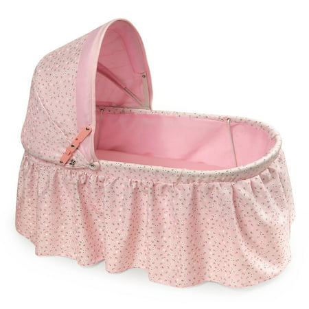 "Badger Basket Folding Doll Cradle with Hood - Pink/Rosebud - Fits American Girl, My Life As & Most 18"" Dolls"