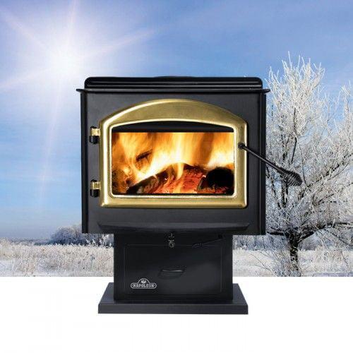 Medium Wood Burning Stove with Leg - Metallic Black