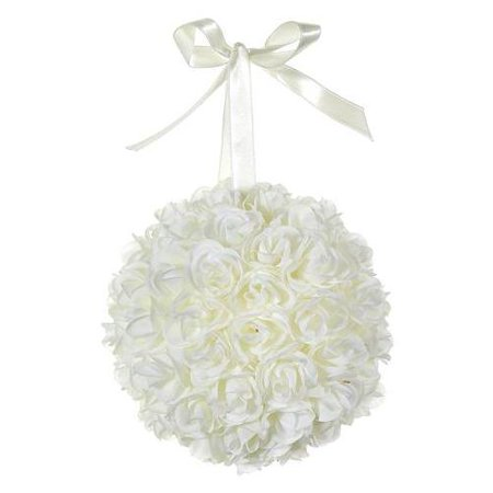Club Pack of 12 Artificial Cream Rose Silk Flower Ball Topiaries with Ribbons