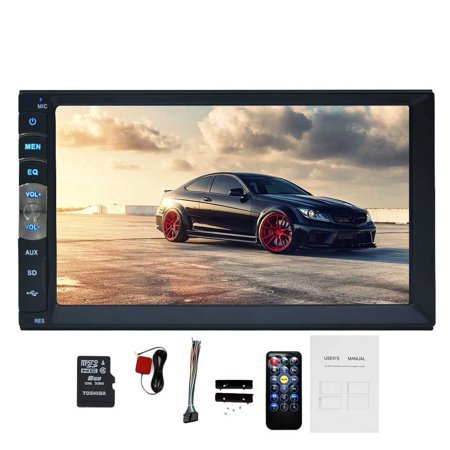 universal linux system 7 Inch double 2 DIN Car Radio Car Audio Stereo Player GPS navigation built-in Bluetooth Handsfree 800*480 Touch Screen MP4/MP5/USB AM FM Radio with Remote Control free 8gb map ()