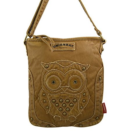Unionbay Women S Faux Leather Aztec Crossbody Bag With Owl Patch Taupe Chic Look