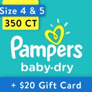 [Save $20] Size 4 & Size 5 Pampers Baby-Dry Diapers, 350 Total Diapers
