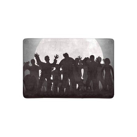 MKHERT Halloween Zombies Tombstones and Full Moon On The Cemetery Doormat Rug Home Decor Floor Mat Bath Mat 23.6x15.7 inch - Floor 10 On 100 Floors Halloween