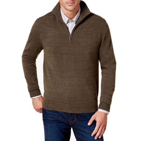 Mens Quarter Zip Striped Sweater - Weatherproof NEW Brown Mens Size Large L Soft-Touch Quarter Zip Sweater