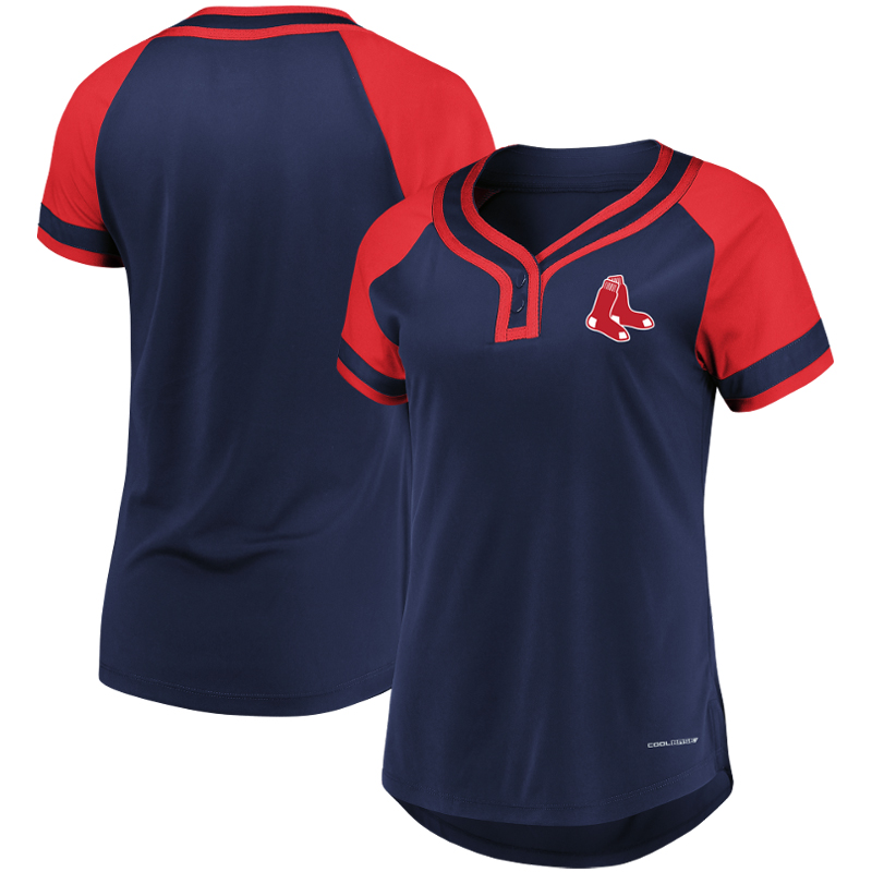 Boston Red Sox Majestic Women's Plus Size League Cool Base T-Shirt Navy Red by Profile