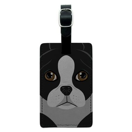 Graphics and More Boston Terrier Dog Pet Rectangle Leather Luggage ID Tag ()