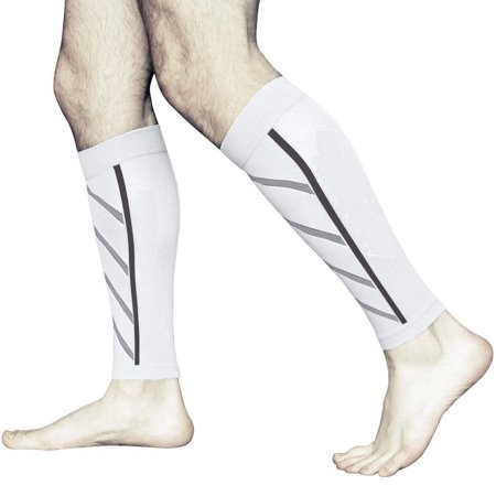 f0319127f3 Compression Running Leg Sleeves for Shin Splint & Calf Pain Relief-White -  Walmart.com