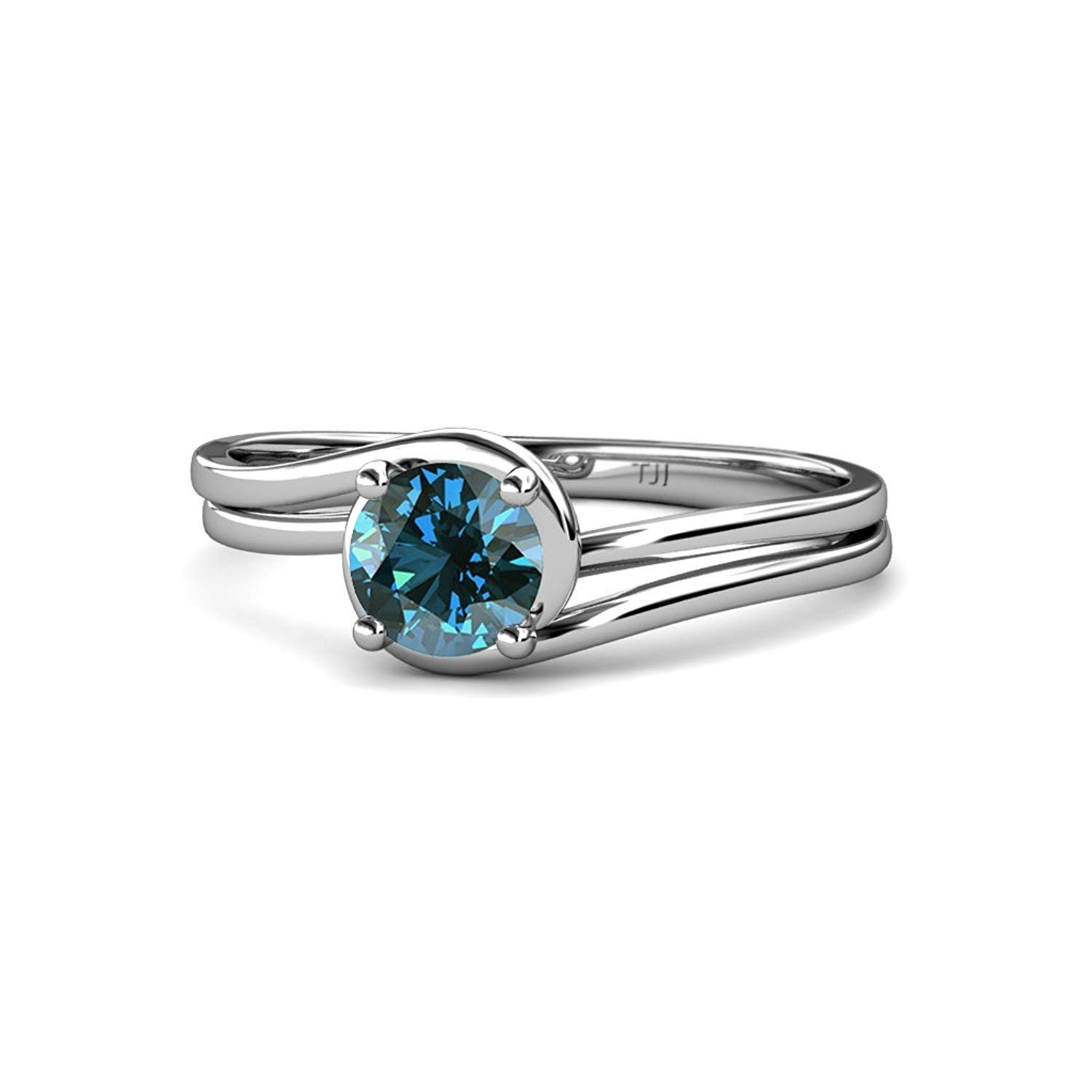 Blue Diamond Bypass Solitaire Engagement Ring 0.63 ct in 14K White Gold.size 5.0 by TriJewels